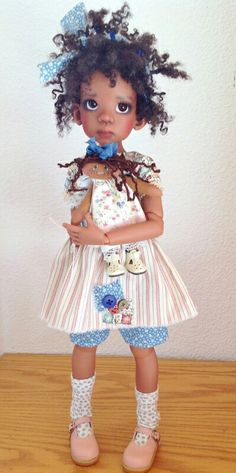 Too cute!  Resin ball jointed doll by Kaye Wiggs