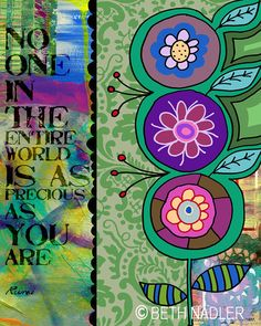 Floral Collage with Rumi Quote by   Beth Nadler