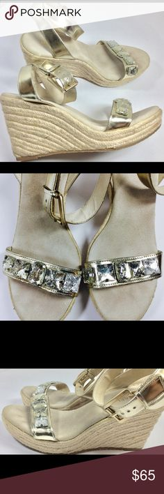 """Michael Kors Metallic Wedge Sandal Sz 10 """"Custom"""" These are 1 of a kind, as I redesigned them using more """"bling"""".  For the lady who loves to show up and shine these are for you. Clean heels, Material is in beautiful condition. These are cross posted in my store. Size 10.   Buy with confidence. Michael Kors Shoes Wedges"""