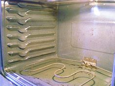 Dirty Oven.....clean your oven with 5 T baking soda 5 drops dawn dish soap and 4 T vinegar, mix into a paste and spread all over let it sit for 15 minutes then wipe off.