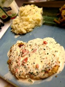Herb Crusted Chicken in Basil Cream Sauce. The basil cream sauce is to die for!!! It's also very good over pasta