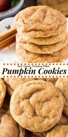 These pumpkin spice cookies are soft chewy and perfect for fall. Theyre filled with flavor thanks to the pumpkin vanilla extract & fall spices. Then theyre rolled in cinnamon sugar for a delicious coating thatll remind you of snickerdoodles. Köstliche Desserts, Delicious Desserts, Dessert Recipes, Yummy Food, Cinnamon Desserts, Dessert Healthy, Easy Fall Desserts, Healthy Food, Appetizer Recipes