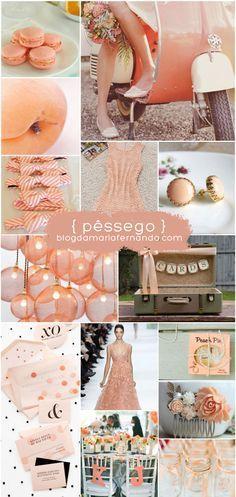 Decoração de Casamento : Paleta de Cores Pêssego    Wedding Inspiration Board Peach   http://blogdamariafernanda.com/decoracao-de-casamento-paleta-de-cores-pessego