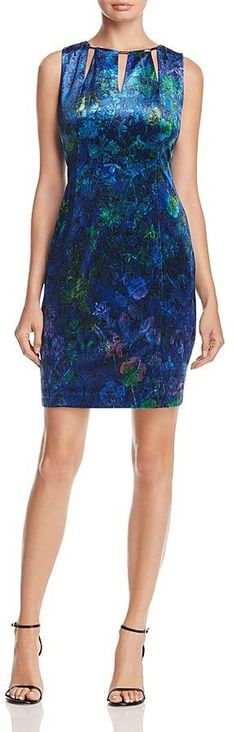 T Tahari Charma Floral Velvet Dress
