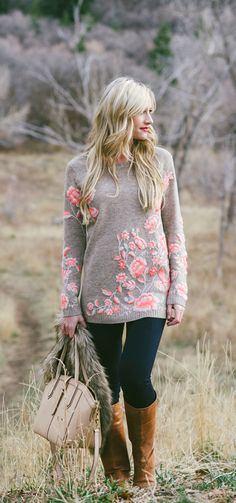 Adorable embroidered Ranunculus Tunic Sweater, denim and long boots