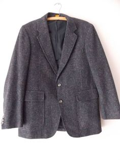 Ending Today!! Hunting Blazer Size 42 Wool Tweed Suit Vintage 80 Costume Sports Coat Jacket #FredFrank #TwoButton