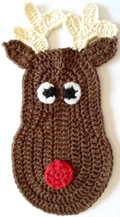Rudolph Crochet Dishcloth - free crochet pattern