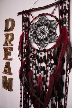 Dreamcatcher burgundy Сrescent Dream Catcher Large Dreamcatcher Dream сatcher dreamcatchers boho burgundy dreamcatchers wall decor handmade #domanaautvar #dekordoma #black #blackdreamcatcher #bohodecor #bohodreamcatcher #dreamcatche