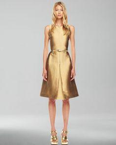 A-Line Shantung Dress - Neiman Marcus