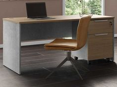 The spacious, large, Broome desk brings a touch of industrial chic to a modern office. The main structure is made of distressed HPL concrete - sturdy, secure, and stylish, whilst the desk is topped with latte walnut - smooth and deep in colour. Wire tidies to the back corners ensure you have an uncluttered workspace in which to meet your goals. Add a Broome mobile filing cabinet for concealed storage of desk essentials, or the Broome Desk Return for extra working space. File Cabinet Desk, Filing Cabinet, Office Furniture, Office Desk, Desk Essentials, Secretary Desks, Industrial Chic, Corner Desk, Latte