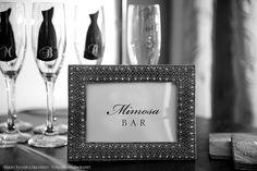 Mimosa Bar Sign and Bridesmaid Champagne Glasses. Ritz-Carlton Lodge Reynolds Plantation.
