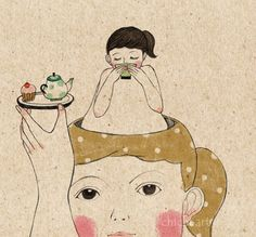 Illustration, girl serving tea and cake to girl growing out of head, Chichi Huang