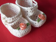 Hand Crochet Doll Shoes/ Christmas Ornaments by Antiquebeginnings,