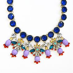 Crystal Stone Mix Bib - blue collar statement necklace with purple accents