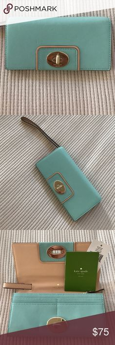 """Kate Spade turnlock Hampton Road wristlet/wallet. Brand new wallet/wristlet. The wristlet strap retracts and hides away if used as wallet. Beautiful pool blue color with sand interior. Measurements: 7.5""""L x 4""""H x 1.5""""W. kate spade Bags Wallets"""