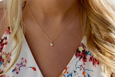 Delicate CZ Necklace / Tiny Diamond Pendant / 14k Gold Fill Chain / Elegant Gold CZ Solitaire Necklace / The Perfect Layering Necklace