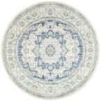 Verona Blue 7 ft. 10 in. x 7 ft. 10 in. Round Area Rug