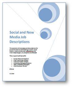 Social And New Media Job Descriptions Product Description Human