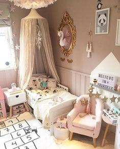 Looking for the perfect theme for your little girl room? Get inspired by our selection of popular decor ideas for your baby girl nursery and little girl bedroom. Little Girl Bedrooms, Big Girl Rooms, Girls Bedroom, Bedroom Decor, Scandinavian Kids Rooms, Princess Room, Dream Rooms, Girl Nursery, Baby Room