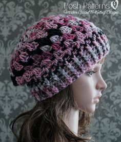 This crochet slouchy hat pattern features an easy and elegant shell stitch design. It's comfortable to wear and a perfect fashion accessory for all ages. Sizes included: Baby, Toddler, Child, Adult. Requires worsted weight yarn and size I (5.5 mm) crochet hook. Looking for a discount on multiple pattern purchases? Use [Posh Patterns coupon codes](http://www.poshpatterns.com/content/coupon-codes)! Instant Download Pattern--PDF 400
