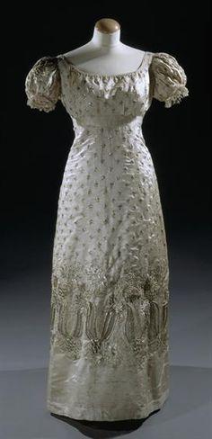Beaded silk satin gown, c. 1800