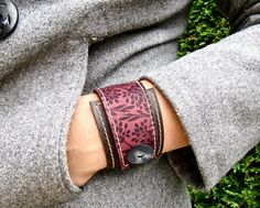 Leather Wrap Women's Bracelet Cuff, Florance in Brown & Burgundy, Adjustable Size