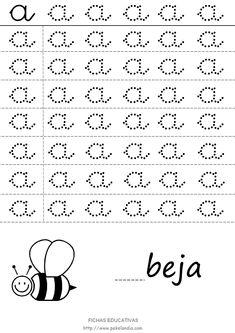 vocal a punteada para repasar - Buscar con Google Cursive Small Letters, Cursive Alphabet, Tracing Letters, Alphabet Worksheets, First Grade Spelling, Spelling Words, Preschool Printables, Preschool Worksheets, Grande Section