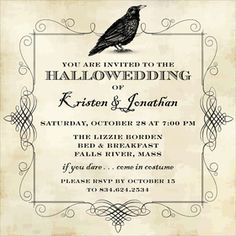 This Antique, Aged Looking Invitation Has An Intricate Border With A Raven  In An Ink · Halloween Themed WeddingsHalloween ...