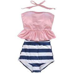 Tragarse Retro Vintage High Waisted Tankini Skirt Bikini Swimsuit Bath... ($17) ❤ liked on Polyvore featuring swimwear, bikinis, retro bathing suits, high waisted bikini, pink bikini, bikini swimsuit and pink swimsuit