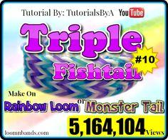 Rainbow Loom #10 Triple Fishtail By TutorialsByA