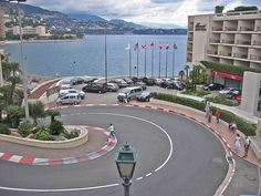Monte Carlo - the famous turn........We all five walked up and back down this turn from the waterside to the casino.