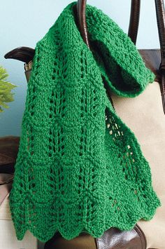 Free Knitting Pattern for One-Skein Lacy Scarf - This light lace scarf features a classic Shetland stitch pattern, Crest of the Wave, and uses one skein of the recommended yarn. Designed by Kate Atherley for Canadian Living.