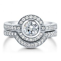Round Cubic Zirconia Sterling Silver 2-Pc Halo Bridal Ring Set 0.84 Ct  style number: r723  $75.99