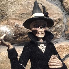 Bethany Lowe - QUEEN OF THE NIGHT  - Whimsical Halloween Folk Art Skeleton Witch