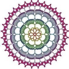 ideas crochet rug mandala for 2019 Motif Mandala Crochet, Crochet Motifs, Crochet Diagram, Crochet Chart, Crochet Granny, Crochet Stitches, Doily Patterns, Knitting Patterns, Crochet Patterns