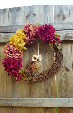 Check out this item in my Etsy shop https://www.etsy.com/listing/483009335/fall-wreath-owl-wreath-hydrangea-wreath