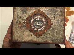 Rozsdás hatás megfestése dekor karton kereten (chipboard) és fa dobozon - YouTube