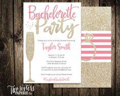 Gold Glitter Bachelorette Party Invitation - Printable Invitation
