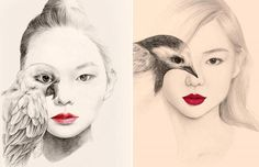 Beautiful portrait illustrations by OkArt . The south Korean artist using the effect of double exposure by merging the eye of the model with that of the bird explores harmony between humans and ani. Bird Drawings, Drawing Sketches, Pencil Drawings, Korean Painting, Bird Sketch, Marilyn Monroe Art, Funky Art, Portraits, Weird Pictures