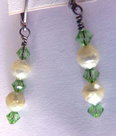 maineteam grren Swarovski crystals and pearls dangle  by MandaJ, $15.00