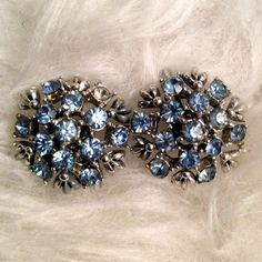 Vintage Blue Rhinestone Clip On Earrings by SwankVintageATX