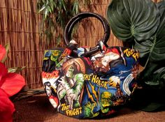 Psychobilly Purse Movie Monsters Horror Handbag with Rattan Handles
