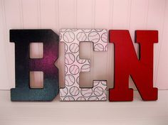 """Sports Themed """"Ben"""" Wooden Letters - Athletic Font on Etsy, $13.00"""