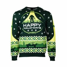 Best mens ugly christmas sweater, New Official Halo ๏ฟฝHappy Halo-Days๏ฟฝ Christmas Jumper / Ugly Sweater. Hanukkah Sweater, Best Ugly Christmas Sweater, Knitted Christmas Jumpers, Christmas Knitting, Super Soldier, Ugly Sweater, Being Ugly, Halo, Alone