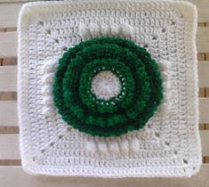 Christmas Wreath Crochet Granny Square | AllFreeCrochetAfghanPatterns.com