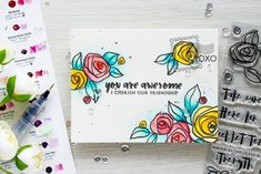Altenew | You Are Awesome I Cherish our Friendship Bamboo Rose & Happy Mail Card by Yana Smakula
