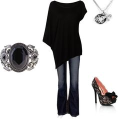Love the shoes, the ring and the fact that it has sleeves not sleevless on one side....I don't really like the necklace.