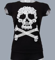 Fashionable black T-shirt with lace skull pirate style.