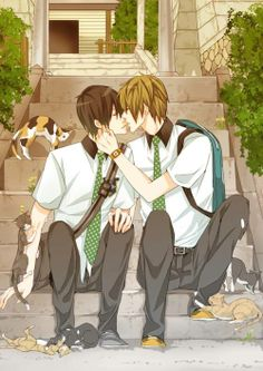 Kiss, kissing, boys, yaoi, sweet, kittens, mormor, love.