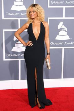 Rihanna in Giorgio Armani at the 2012 Grammys
